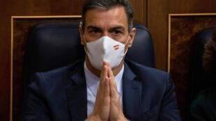 El presidente Pedro Sánchez, durante el debate de la moción de censura en el Congreso de los Diputados español, el 22 de octubre de 2020 en Madrid