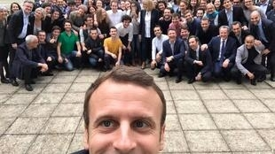 President Emmanuel Macron with the LREM candidates before the parliamentary election