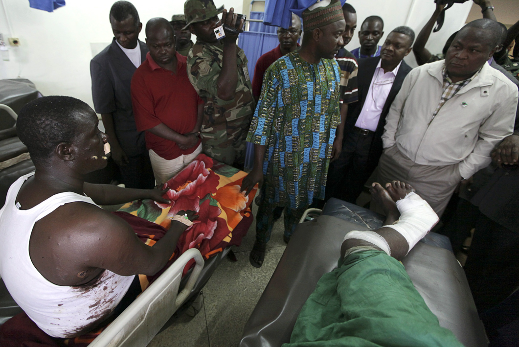 Nigeria's Defence minister Adetokunbo Kayode meets Abuja bombing victims