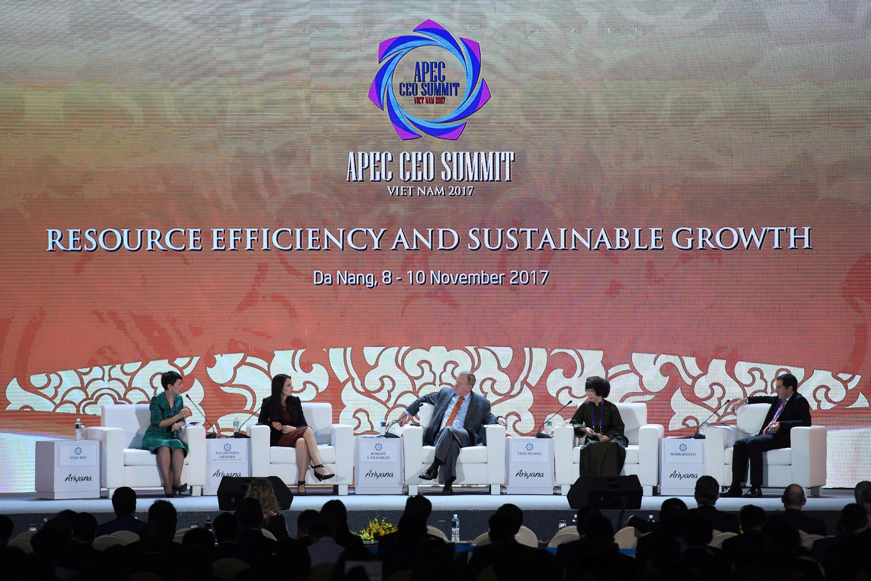 Chủ tịch ExxonMobil, ông Robert Franklin (G) trong ngày cuối của cuộc hội thảo các nhà lãnh đạo doanh nghiệp APEC ở Đà Nẵng, Việt Nam ngày 10/11/2017.