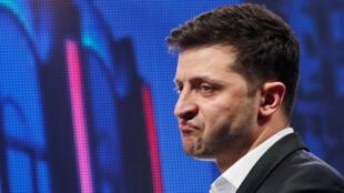 Volodymyr Zelenskiy, comédien et président-élu de l'Ukraine, lors d'un spectacle à Brovary, le 29 mars 2019.