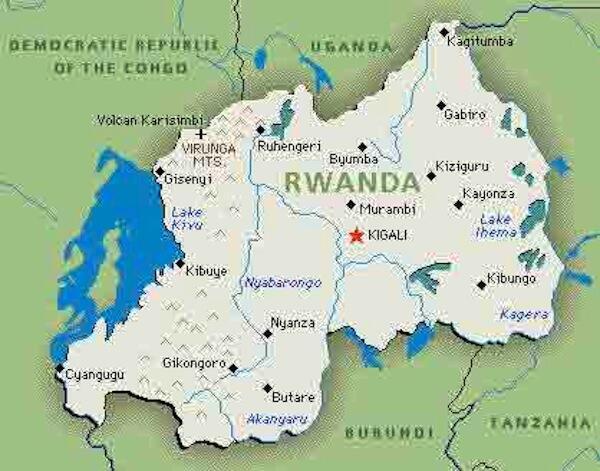 Ramani inayoonesha Nchi ya Rwanda