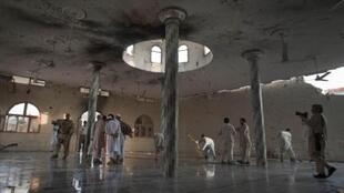 The main hall of the Waali mosque after it was hit by a suicide bomb blast in Darra Adam Khel