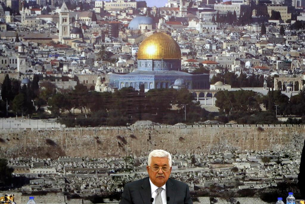 Lãnh đạo Palestine Mahmoud Abbas thông báo ngưng mọi liên lạc chính thức với Israel để phản đối các biện pháp an ninh mới ở Jérusalem, ngày 21/07/2017.