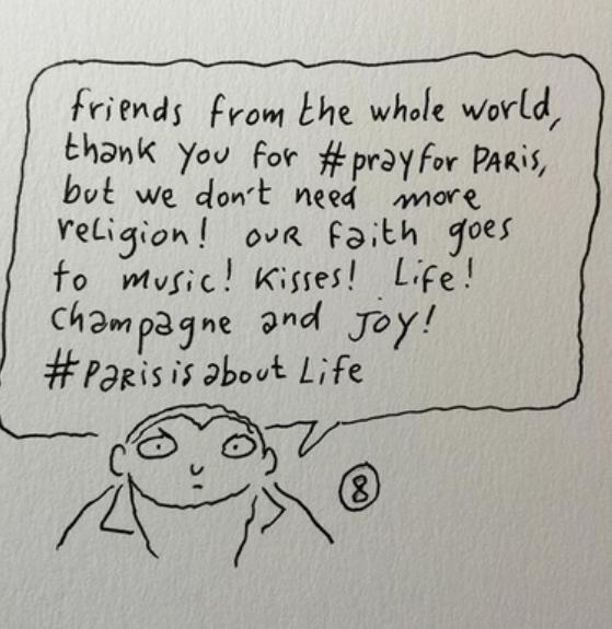 """""""Дорогие иностранные друзья, спасибо вам за хэштег #prayforparis, но у нас религии и так хватает! Мы верим в музыку, поцелуи, жизнь, шампанское и радость! #parisisaboutlifr !"""""""""""