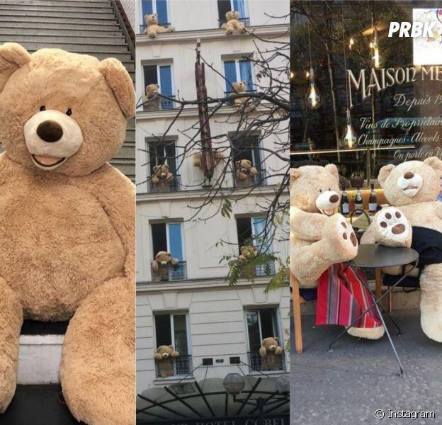 Ursos de pelúcia presenteados para os vizinhos por um dono de livraria na avenida Gobelins, no 13° distrito de Paris.