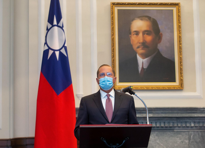 Bộ trưởng Y Tế Mỹ Alex Azar phát biểu tại cuộc hội kiến với tổng thống Thái Anh Văn ngày 10/08/2020 tại Đài Bắc, Đài Loan.