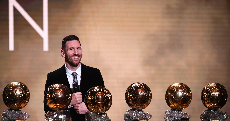 Lionel Messi, sextuple lauréat du Ballon d'Or, le 2 décembre 2019 au Théâtre du Châtelet à Paris