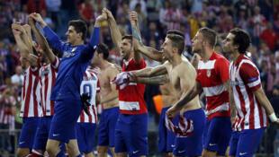La joie d'Atletico Madrid contre Barcelone, le 9 avril 2014.