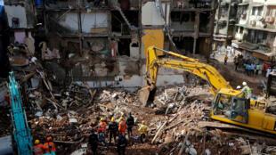 Des effondrements d'immeubles ont souvent lieu à Mumbai sans que les autorités ne réagissent vraiment. Ici à Mumbai, le 1er septembre 2017.
