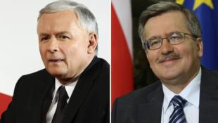 Jaroslaw Kaczynski (T) et Bronislaw Komorowski (P)