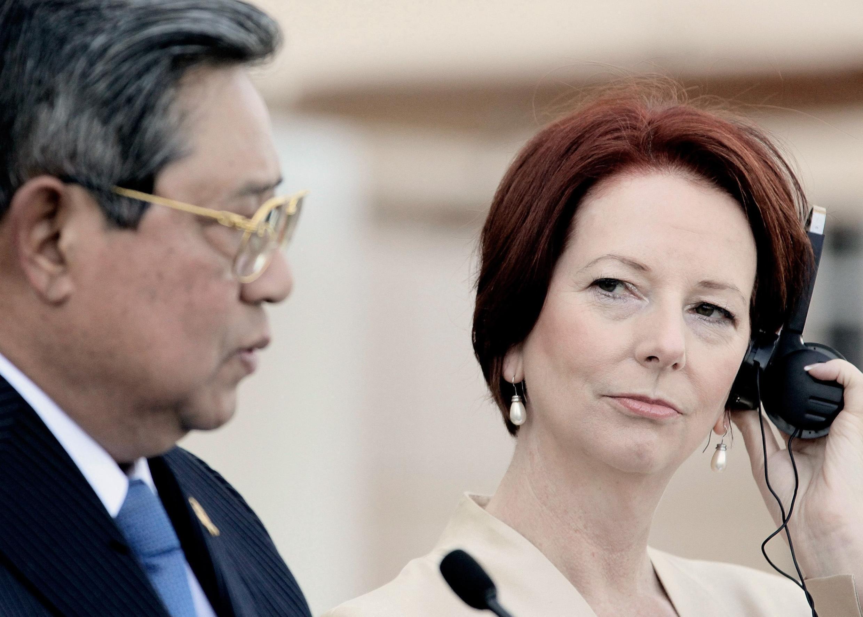 Tổng thống Indonesia Yudhoyono và Thủ tướng Úc Julia Gillard. Ảnh tư liệu chụp ngày 03/07/2012.