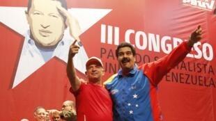 O presidente Nicolás Maduro e o general Hugo Carvajal, no domingo, em Caracas.