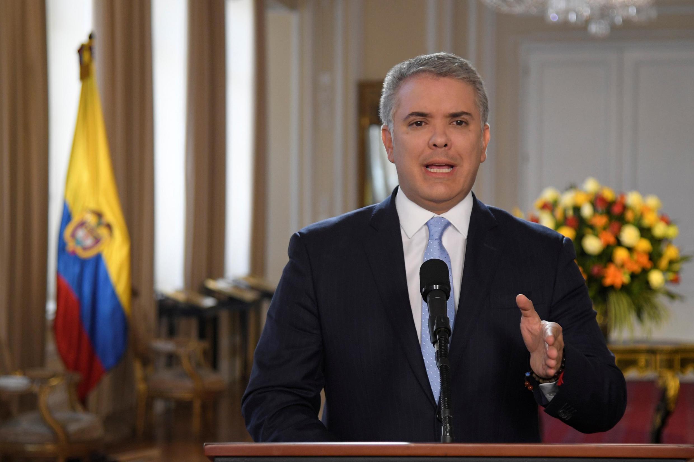 El presidente Iván Duque reacciona tras el anuncio de la reanudación de la lucha armada por parte de ex guerrilleros de las FARC, el 29 de agosto de 2019.