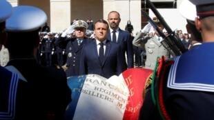 Shugaban Faransa, Emmanuel Macron a wurin bikin karrama sojin kasar da suka mutu a Benin