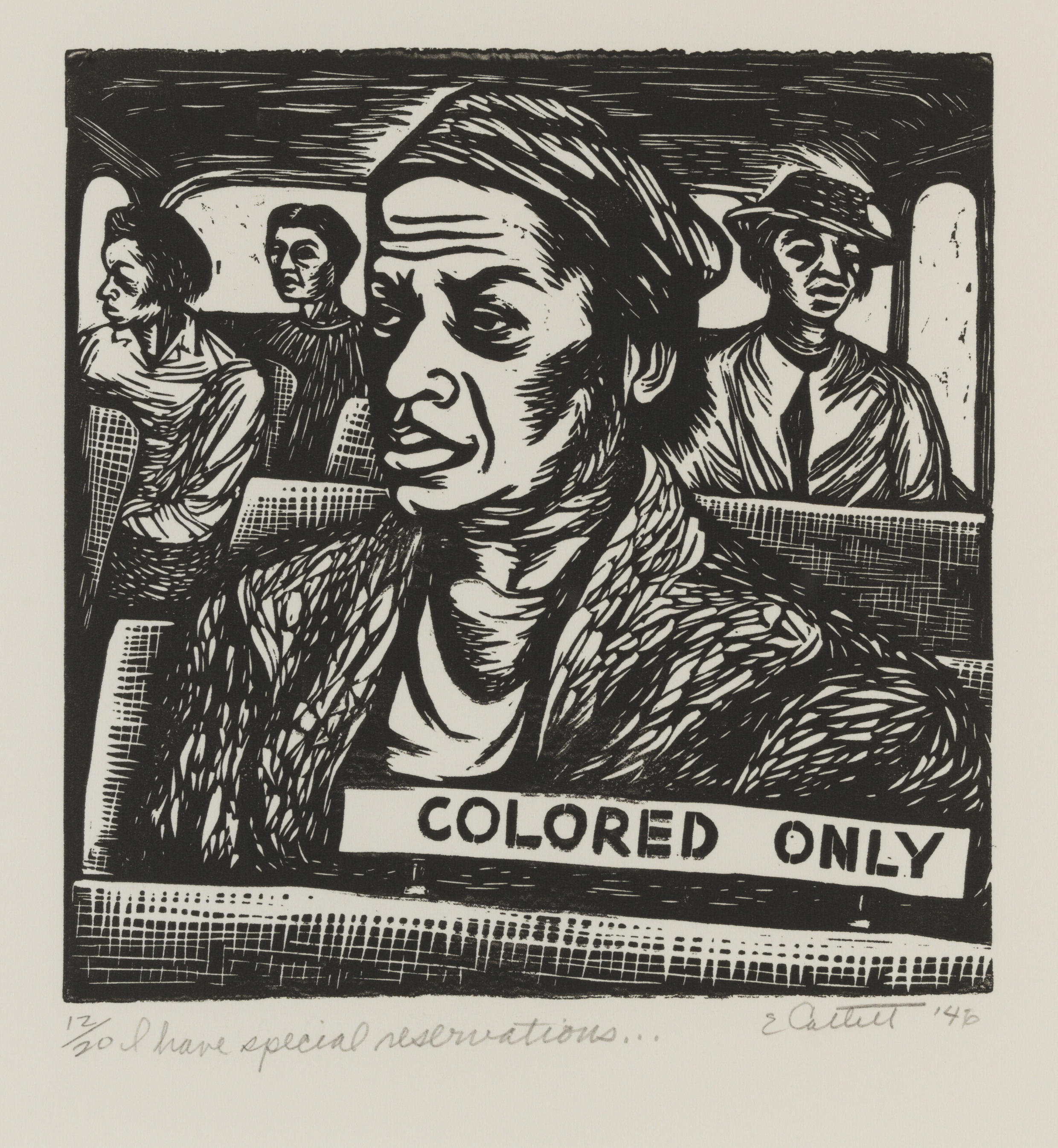 « I have special reservations… » (detail), 1946. Œuvre d'Elizabeth Catlett, exposée dans « The Color Line » au musée du quai Branly. Courtesy of the Pennsylvania Academy of the Fine Arts, Philadelphia. Art by Women Collection, Gift of Linda Lee Alter, Art.