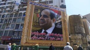 Dans les rues du Caire, un portrait géant d'Abdel Fattah al-Sissi qui a été proclamé officiellement président le 3 juin 2014.