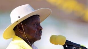 Yoweri Museveni, katika mkutano wa kampeni yake ya mwisho katika mji wa Kampala, Februari 16, 2016.