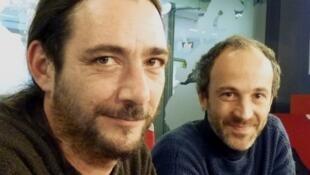 Tomas Jiménez y Vincent Ruíz en los estudios de RFI.