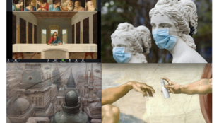 "Jesus in zoom, artwork (© stevefogg) ; Sculptures masquées en Italie (© Ansa/Epa) ; dessin extrait de ""32 décembre"" d'Enki Bilal (Casterman) ; The creation of Adam - Michel Ange © Ministry of culture and information policy of ukraine"