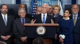 Mike Pence à la Maison Blanche lors d'une conférence de presse sur le coronavirus, ici en mars 2020.