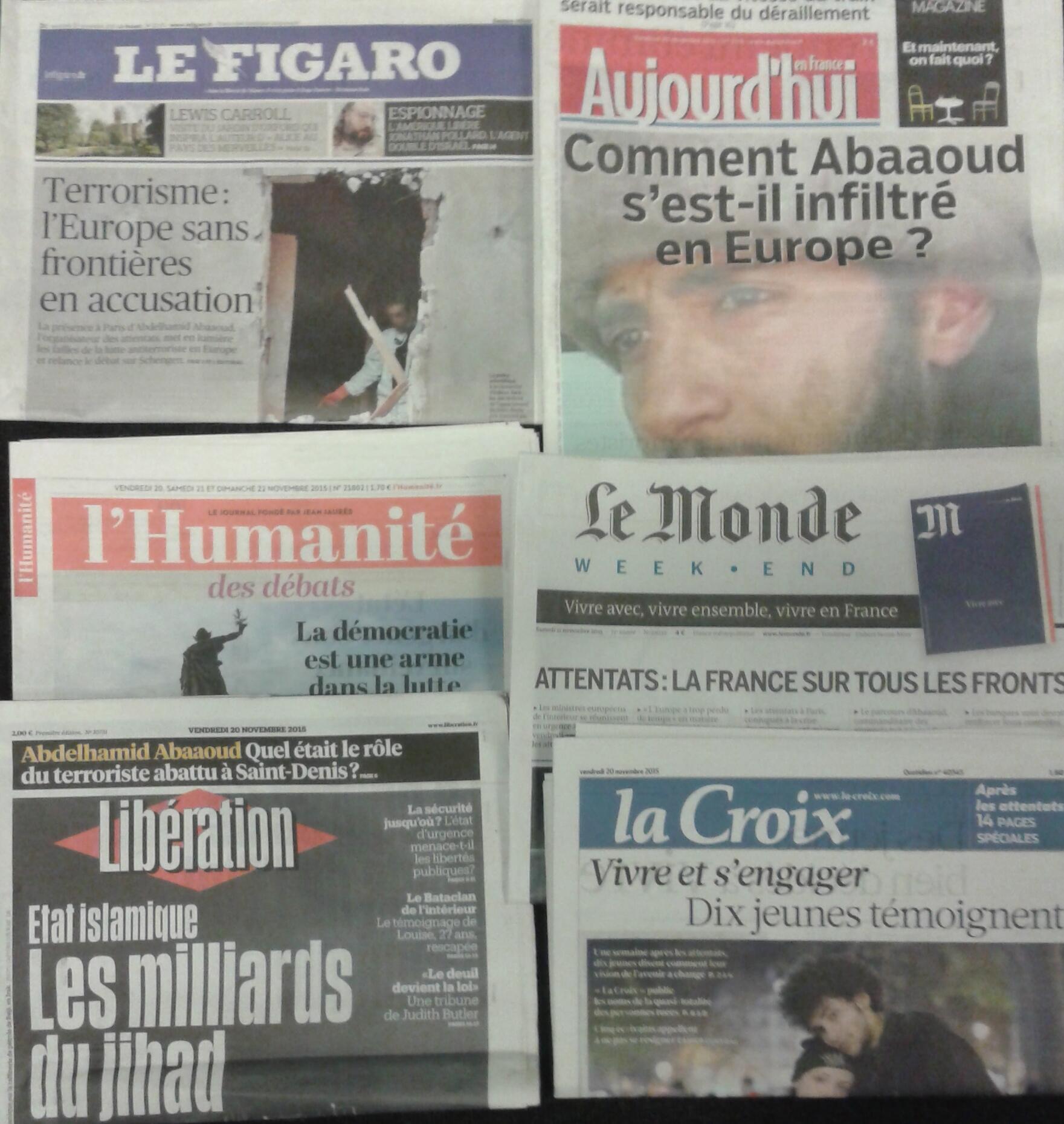 Imprensa parisiense do dia 20.11.2015