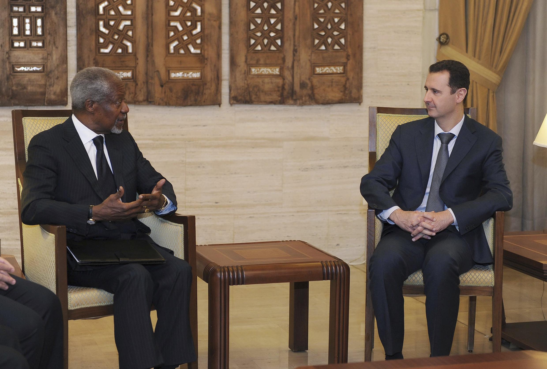 Koffi Annan, Manzo na Musamman na Majalisar Dinkin Duniya a lokacin da yake ganawa da Shugaban kasar Syria Bashar Al Assad