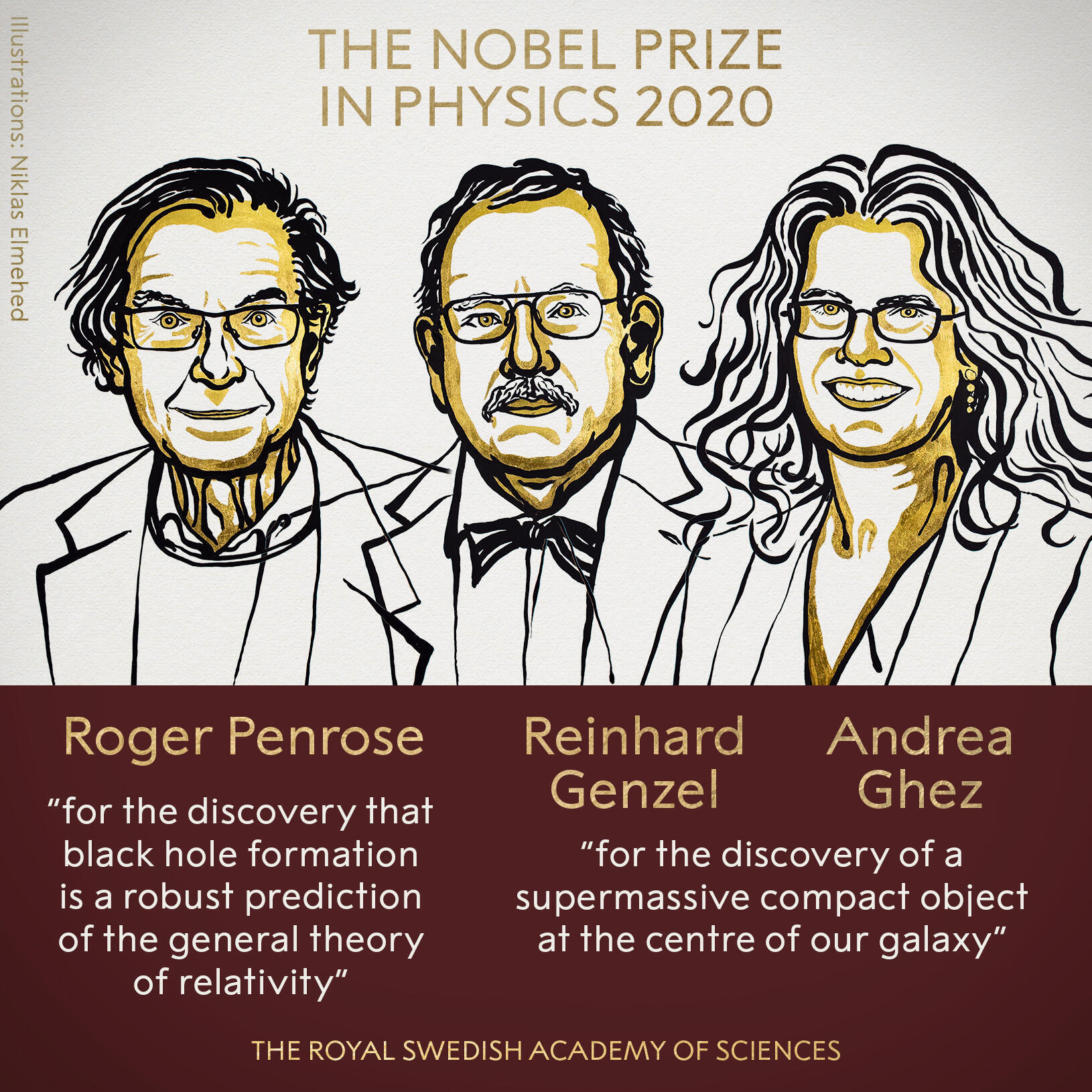 Лауреаты Нобелевской премии по физике 2020 года Роджер Пенроуз, Рейнхард Генцель и Андреа Гез.