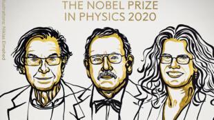 Roger Penrose, Reinhard Genzel et Andrea Ghez, lauréats du prix Nobel de physique 2020.