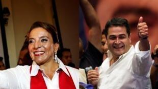 Fotomontagem dos candidatos favoritos a vencer as presidenciais de Honduras, Xiomara Castro e Juan Orlando Hernández.