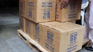 Guatemala: cajas que contienen material para las elecciones guatemaltecas de septiembre de 2011.
