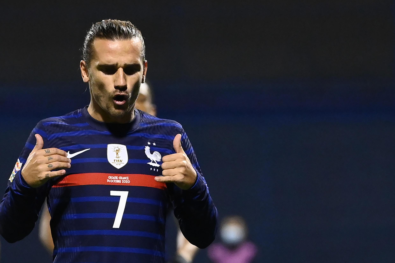 L'attaquant Antoine Griezmann ouvre le score pour la France lors du match de Ligue des nations face à la Croatie, à Zagreb, le 14 octobre 2020