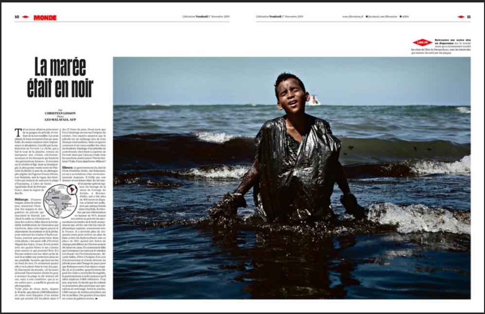 Matéria sobre a poluição nas praias do Nordeste brasileiro, publicada nesta sexta-feira 1° de novembro de 2019 pelo jornal Libération.