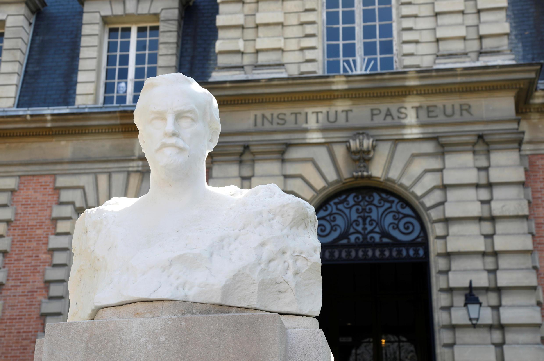 A sculpture representing Louis Pasteur is seen outside the Pasteur Institute headquarters in Paris amid the Covid-19 outbreak France, April 20, 2020.