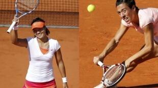 A chinesa Na Li(à esq.) enfrenta a italiana Francesca Schiavone na final do Grand Slam francês