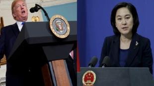 Image composée: le Président américain TRUMP (Gauche) et la Femme porte-parole HUA Chunying (Droite)