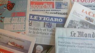 Primeiras páginas dos jornais franceses de 29 de fevereiro de 2016