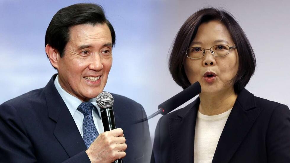 台湾两届领导人马英九和蔡英文资料图片