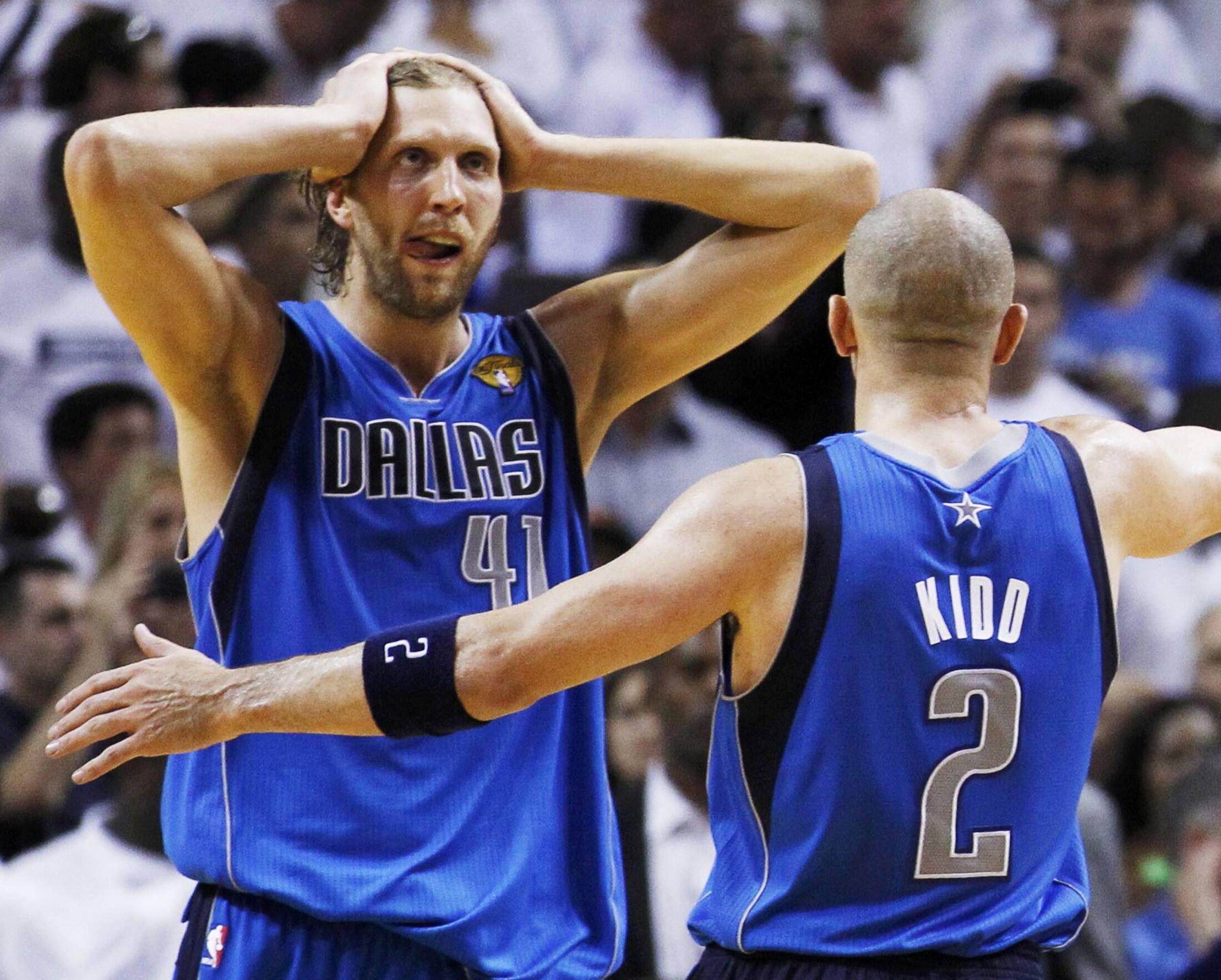 L'Allemand Dirk Nowtizki et l'Américain Jason Kidd champions NBA avec Dallas en 2011. Au chômage technique en 2012 ?