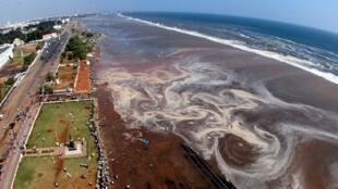 Quang cảnh bãi biển Marina, vùng Madras, miền nam Ấn Độ, sau trận sóng thần ngày 26/12/2004