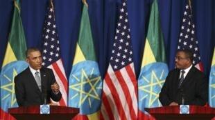 Tổng thống Mỹ Barack Obama và Thủ tướng Ethiopia Hailemariam Desalegn tại thủ đô Addis Ababa, ngày 27/07/2015.