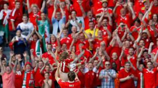 Khán giả cổ vũ trận đấu giữa đội tuyển Xứ Wales và Bắc Ailen trong giải Euro 2016 trên sân Parc des Princes, Paris ngày 25/06/2016.