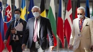Le chef de la diplomatie de l'UE, Josep Borrell a arrive à la réunion des ministres des Affaires étrangères des 27 pays membres de l'UE le 13 juillet 2020.
