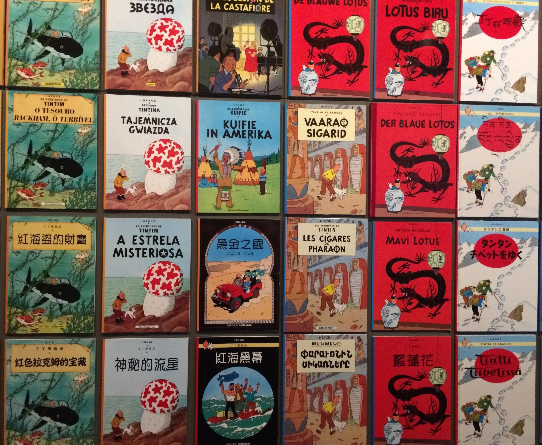 Bìa album Tintin được xuất bản ở nước ngoài. Triển lãm Hergé, Grand Palais, Paris.