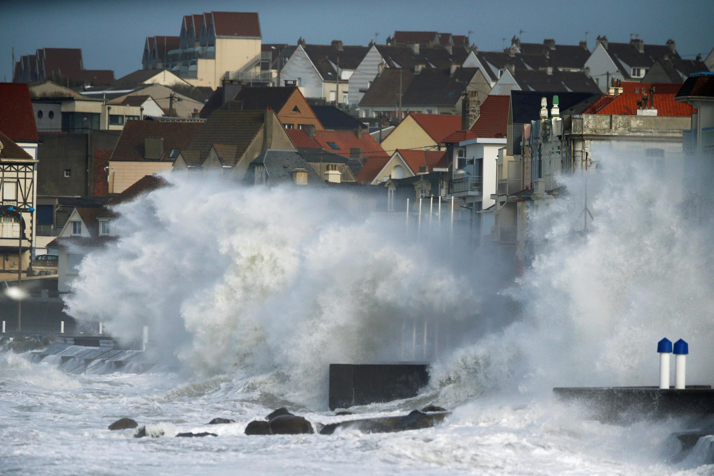 Waves crash against the breakwater during Storm Ciara at Wimereux, France, February 10, 2020.