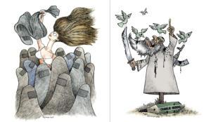 Deux dessins du caricaturiste Kianoush.