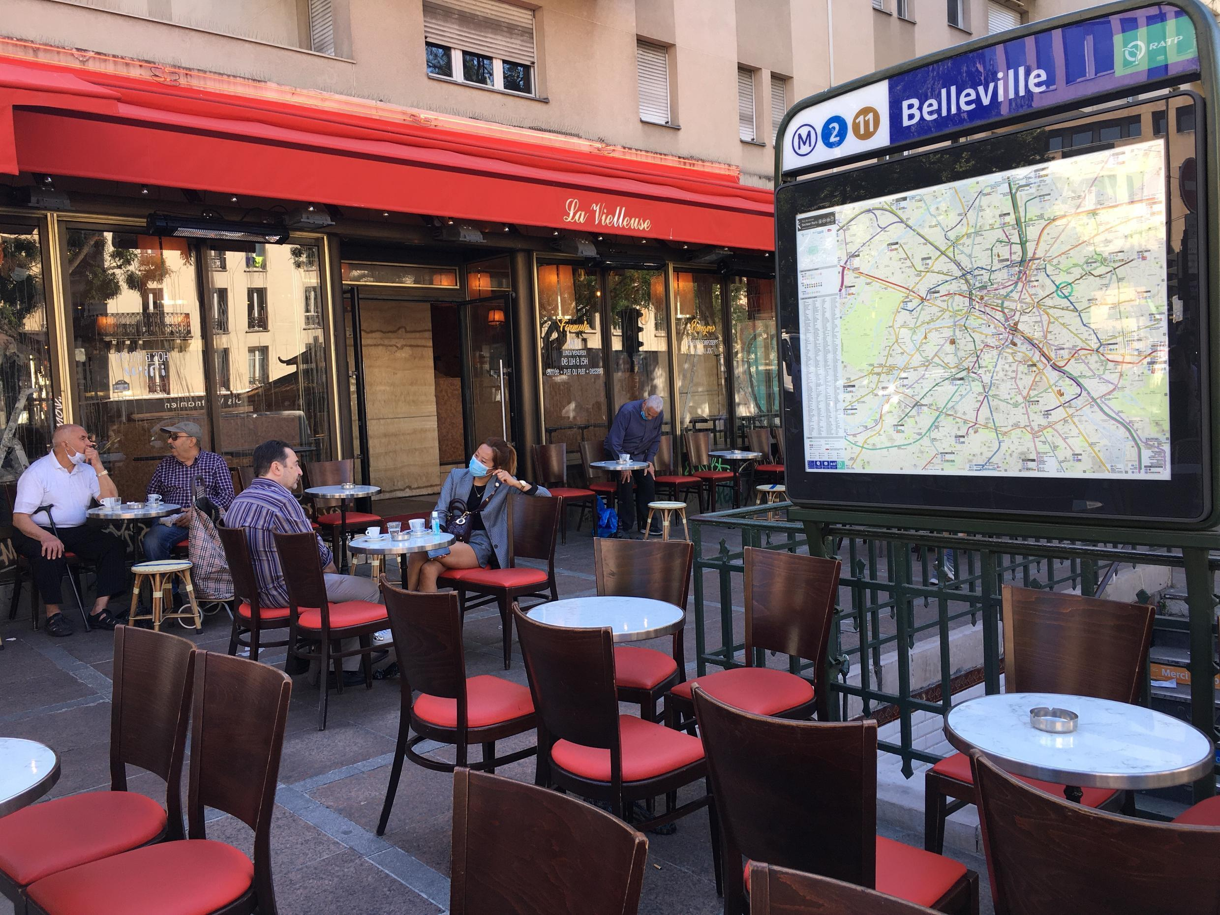 Paris' cafés, bars and restaurants reopen after two and a half months with their doors closed due to the Covid-19 lockdown, Belleville, Paris, 2 June 2020.