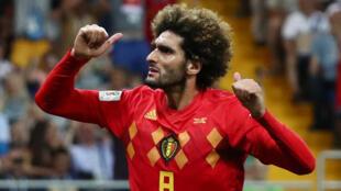Le Belge Marouane Fellaini après la victoire 3-2 de la Belgique face au Japon, en Coupe du monde 2018.