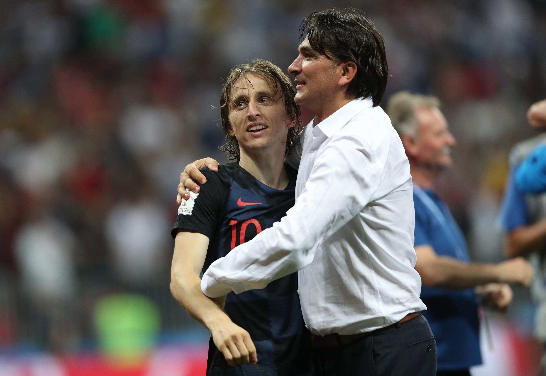 Luka Modric et Zlatko Dalic après la qualification croate contre l'Angleterre.