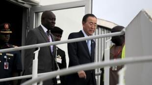 Ban Ki-moon, lokacin da ya isa Najeriya